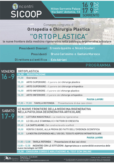 """Incontri SICOOP – """"Ortoplastica"""" Le nuove frontiere della medicina rigenerativa nella patologia degenerativa articolare"""